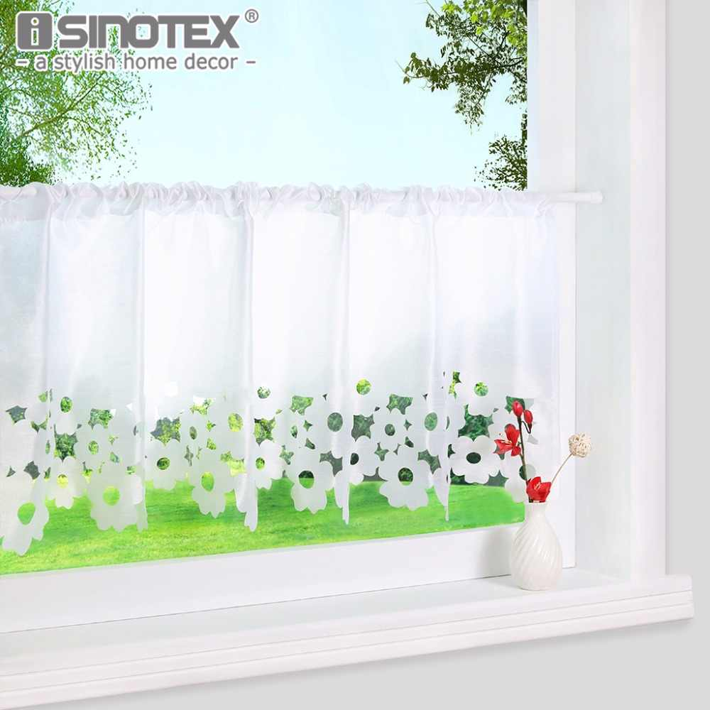 Fashion Cafe Lace Hollow Embroidered Kitchen Curtain 100% Polyester Pastoral Style Small Cafe Curtain Various Sizes 1 PCS/Lot