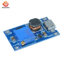 Mini MT3608 2A DC-DC Module d'alimentation réglable Booster carte 2-24 V à 28 V MT3608 micro port usb remplacer XL6009(China)