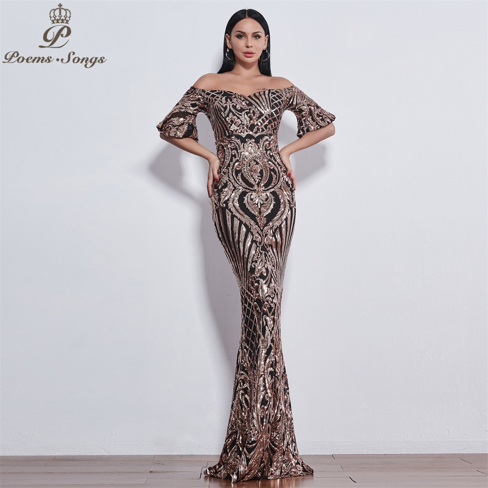 Poems Songs Elegant Luxury Sequin Evening Dresses Long Vestido De Festa Longo Prom Dress Robe De Soiree Longue Robe