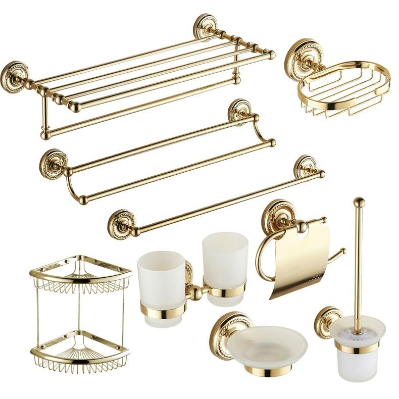 Antique Gold Brass Carved Bath Decoration Polished Bathroom <font><b>Accessories</b></font> Mounting Bath Hardware Set Bathroom Products