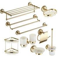 Baño de Latón antiguo Del Oro Tallado Decoración Productos de Pulido Accesorios de Baño Set de Baño de Hardware Cuarto de Baño De Montaje