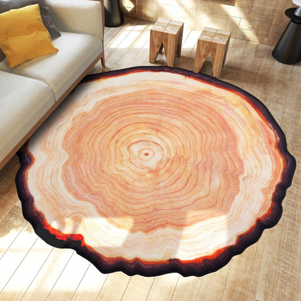1Pc Round Carpet Ancient Tree Ring Mat Parlor Door Floor Rug Living Room Sofa Table Area Rugs Wood Color Wholesale 80x80cm