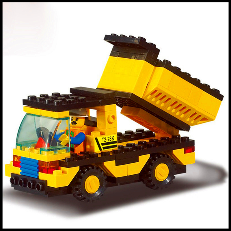 93Pcs Building Block Toys Engineering Dump Truck Model SLUBAN 9500 Figure Brinquedos Gift For Children Compatible Legoe sluban 0372 block compatible legoe aviation city aircraft repair shop model 596pcs educational building toys for children