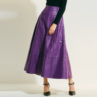 Sisjuly Woman Leather Skirt Plus Size Causal Loose Solid Autumn A Line Long Dance Skirt Elegant