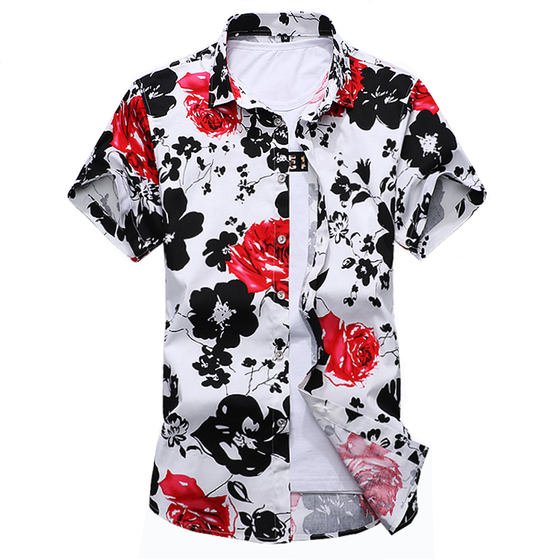 5fe2f6fcfeed4 2017 Summer Mens Dress Shirts Men Cotton Floral Casual Shirt Man Short  Sleeve Stylish Shirt Fashion Plus Size M-6XL 7XL
