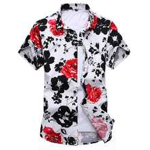 2017 Summer Mens Dress Shirts Men Cotton Floral Casual Shirt Man Short Sleeve Stylish Shirt Fashion Plus Size M-6XL 7XL