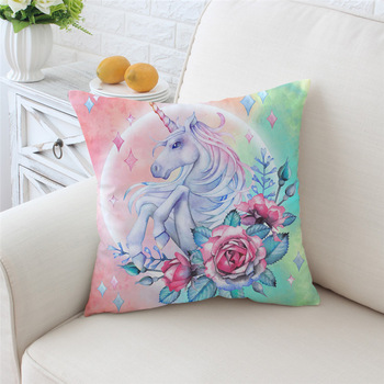 Unicorn and Rose Pillow Cover