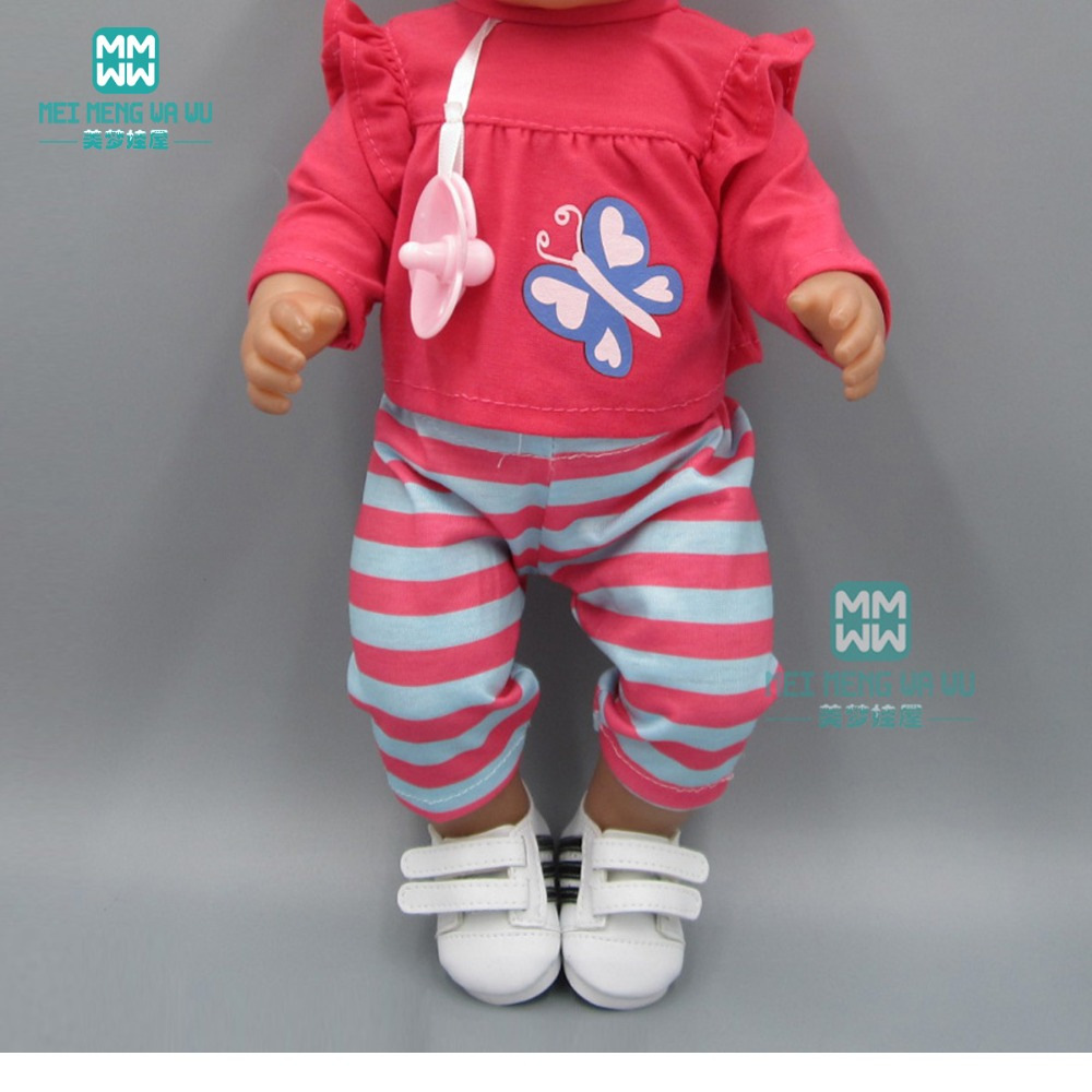 Clothes For Doll For 43 Cm New Born Doll Accessories Rose Red T-shirt Shorts With Baby Pacifier