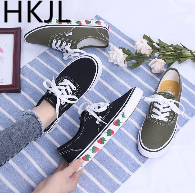 HKJL Canvas shoe female student han edition goes all out spring new fund strawberry board shoe 2019 tide shoe A531 in Women 39 s Vulcanize Shoes from Shoes