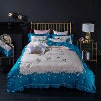 Роскошный атласный длинный штапельный хлопок вышивка Постельное белье queen King Размеры набор пододеяльников для пуховых одеял простыни наво