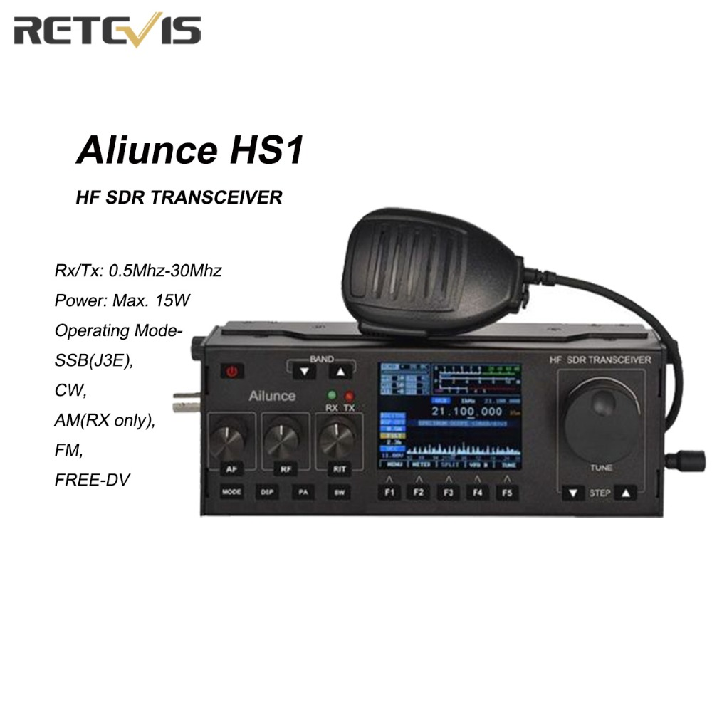 Ailunce HS1 HF SDR Transceiver Radio Amateur TX 15W Ham Radio Staion RX/TX: 0.5MHz-30MHz SSB(J3E), CW, AM, FM, FREE-DV