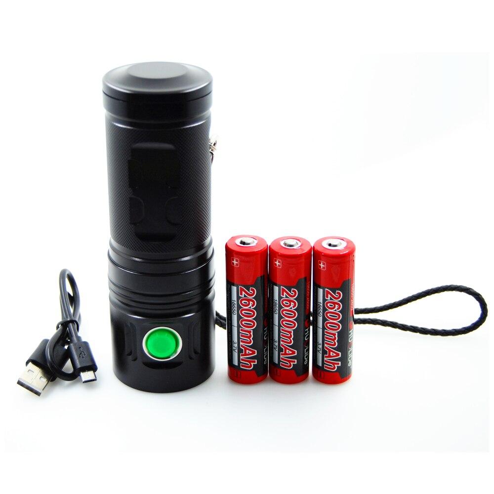 2017 SHUO LI DE nouveau USB Rechargeable 3500 lumens CREE XHP70 torche LED lampe DE poche lampe à LED en utilisant 3*18650 batterie