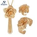 Kingwin flower jewelry sets for women luxury bridal jewellery for women flower designs of ring, pendant necklace bracelet