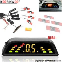 Koorinwoo oryginalny wyświetlacz LCD Monitor samochodowy czujniki parkowania 16.5 MM płaskie 4 elektromagnetyczne Parkmaster metalowe Brumper podświetlenie cofania -