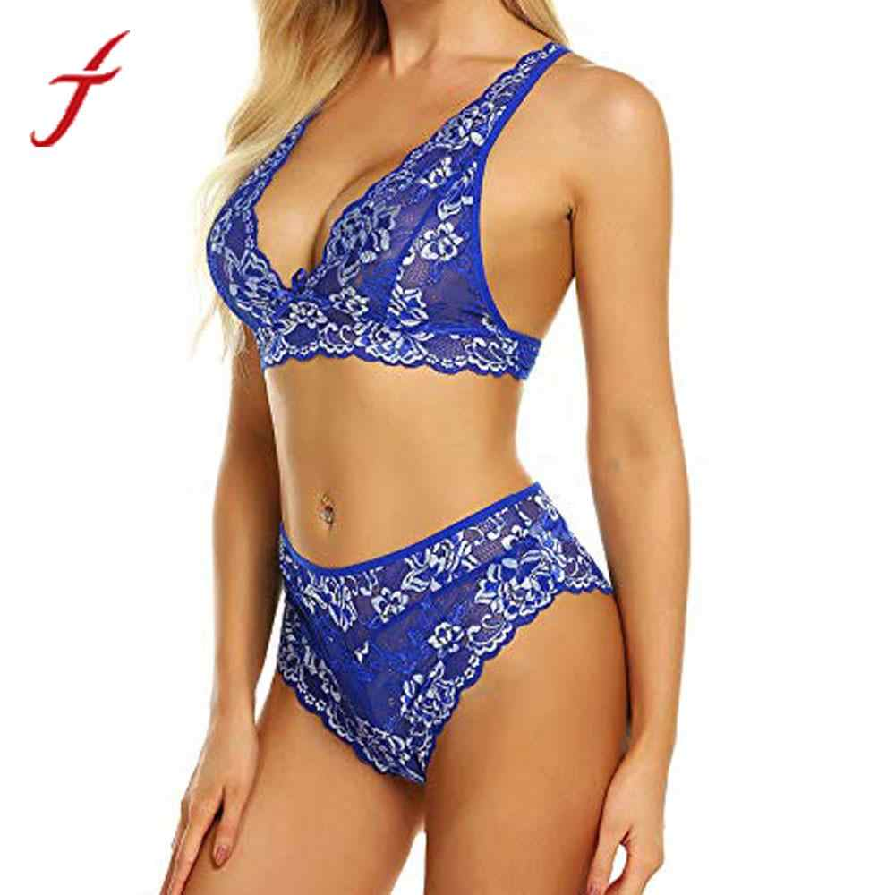 3ef786195abc Feitong Women Lingerie Lace Bra Bralette and Panty Set stripper clothes  Deep V Babydoll Bodysuit sexy