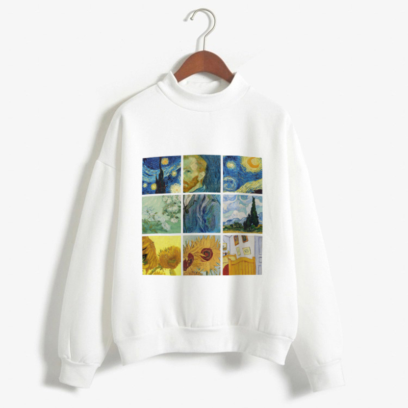 K Pop Long Sleeve Sweatshirt Fashion Women Clothes Van Gogh Oil Painting Print Winter Casual Women Hoodies Pullovers Sweat Femme