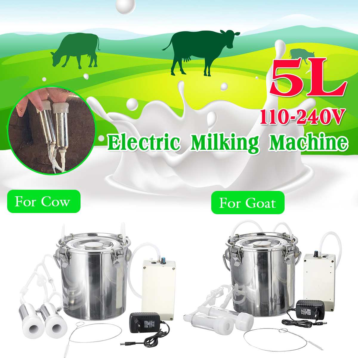 5L Cow Goat Sheep Electric Milking Machine Stainless Steel Bucket Suction Milker Vacuum Pump Household Milking Machines