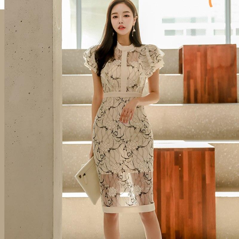 Korean Style Lace Pencil Dress Women Butterfly Sleeve Sheath Dresses Elegant Patchwork Hip Package Vestidos femme 2019