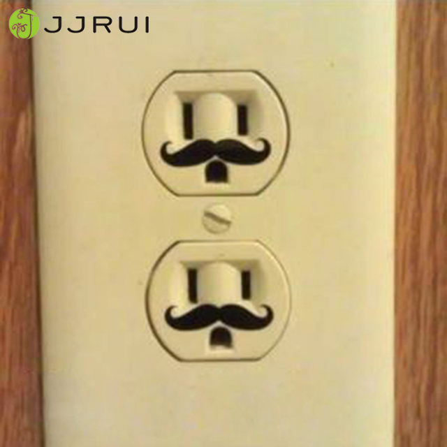 JJRUI 6 Pcs Mustache Vinyl Wall Decal Sticker Electric Outlet Funny ...