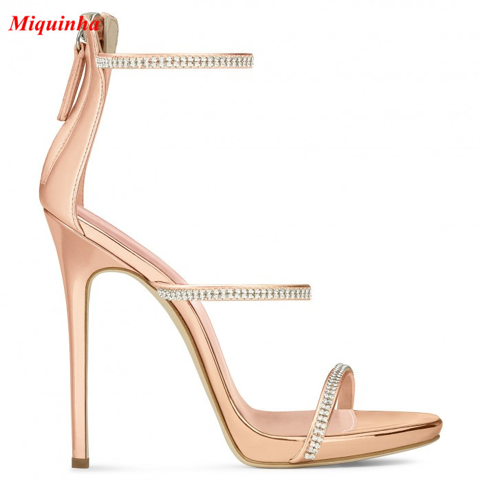 Rose Gold Crystal Three Straps Stiletto Heels Hot Selling Platforms Sandals  Booties High Heels Pumps Dress Party Women Shoes-in Women s Sandals from  Shoes ... f6c49ce385a0
