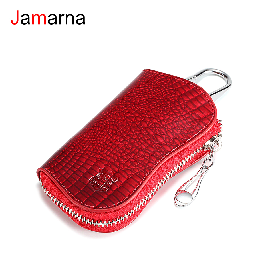 Jamarna Housekeeper Key Holder Genuine Cow Leather Crocodile Pattern Key Case Zipper 6 Key Rings Flannel Lining Car Key BagJamarna Housekeeper Key Holder Genuine Cow Leather Crocodile Pattern Key Case Zipper 6 Key Rings Flannel Lining Car Key Bag
