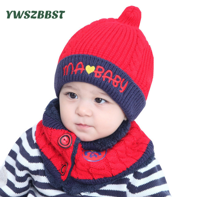 66e622e261f Cute Baby Hat with Scarf Ring Winter Baby Boy Hats Kids Baby Hat Scarf Girls  Cap