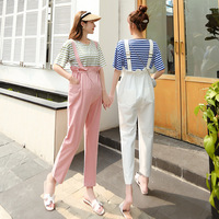 Summer Casual Sweet Maternity Bib Pants Elastic Band High Waist Pregnant Overall Pants Ankle Length Pregnancy Straight Pants