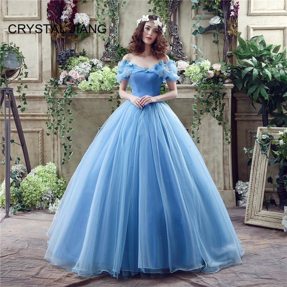 CRYSTAL JIANG 2019 Vestidos de fie New Fashion Off the Shoulder Blue Organza Ruffles 3D Butterfly A Line Cinderalla   Prom     Dresses
