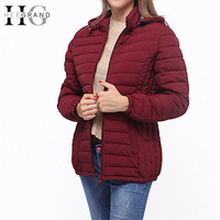 HEE GRAND Women Hooded Parkas Thin Casual Padded Winter Coat Quilted Jacket Solid Elegant Loose Plus