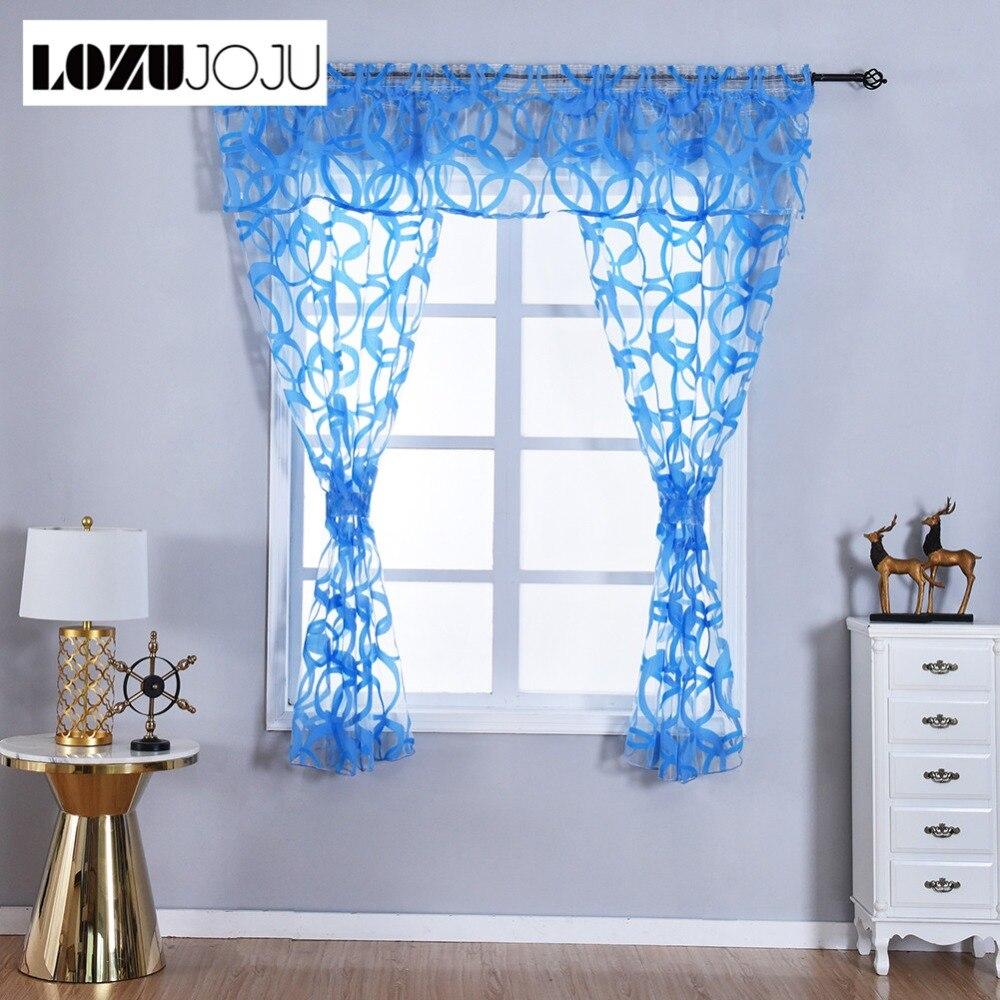 LOZUJOJU Endless Circle Jacquard Short Drops For Kitchen Windows Transparent Tulle Curtains Small Size Windows Fabric Valance