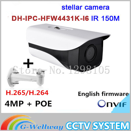 Dahua English firmware stellar camera 4MP Dahua-IPC-HFW4431K-I6 Network IP IR Bullet H265 H264 SD card slot IPC-HFW4431K-I6 dahua ipc hfw4431k as i6 stellar camera 4mp poe sd card slot audio alarm interface ip67 ir150m bullet camera with bracket