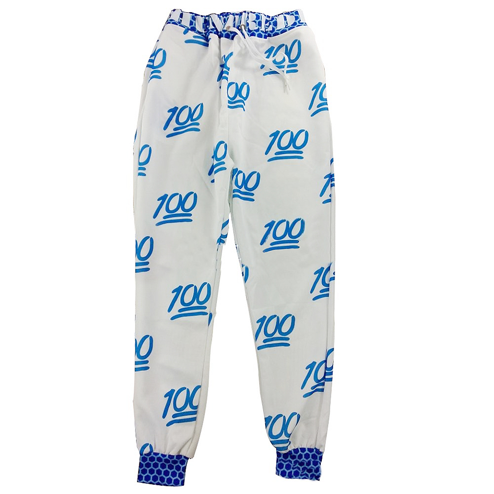 Unisex Emoji Printing Pretty 3D Sweatpants Joggers Sweatshirt Pants-XL(White and blue)