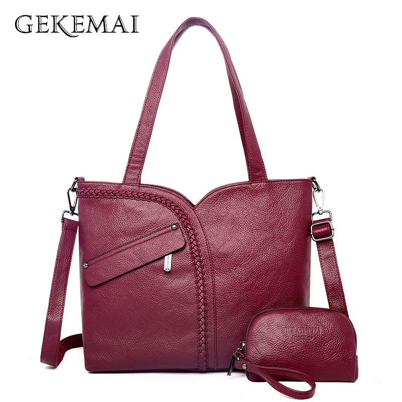 Luxury Women Genuine Leather Knitting Shoulder Bags 2 Sets Purses And Handbags Large Capacity Tote Bag Crossbody Bags For Women