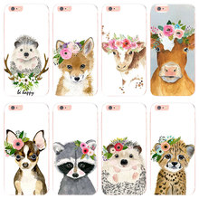 MaiYaCa Animal head wearing flowers hedgehog cow dog fox for iphone 6s 6plus 5 5s SE case For iphone 7 8plus X XS XR phone cover(China)