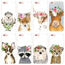 MaiYaCa cabeza de Animal con flores de vaca perro zorro 6s iphone 6plus 5 5S SE caso para iphone 7 8plus X XS X XR cubierta del teléfono