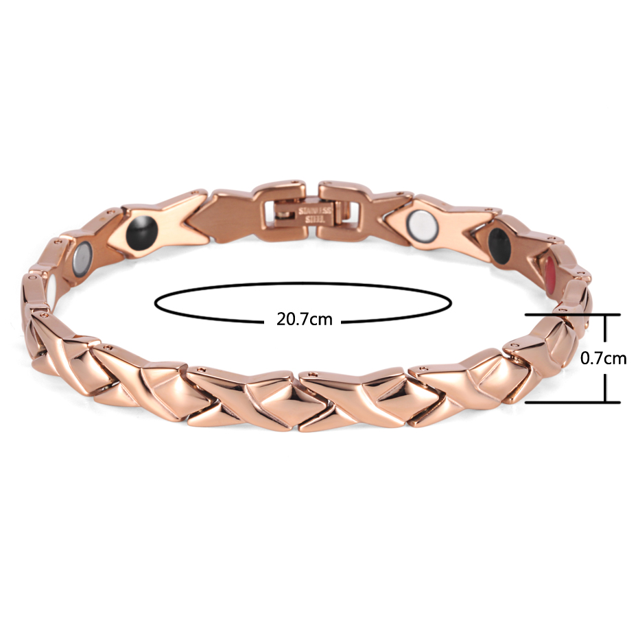 Rainso stainless steel Letter shape power energy health bracelet 4 in 1 magnetic germanium healthy bracelet for women 7