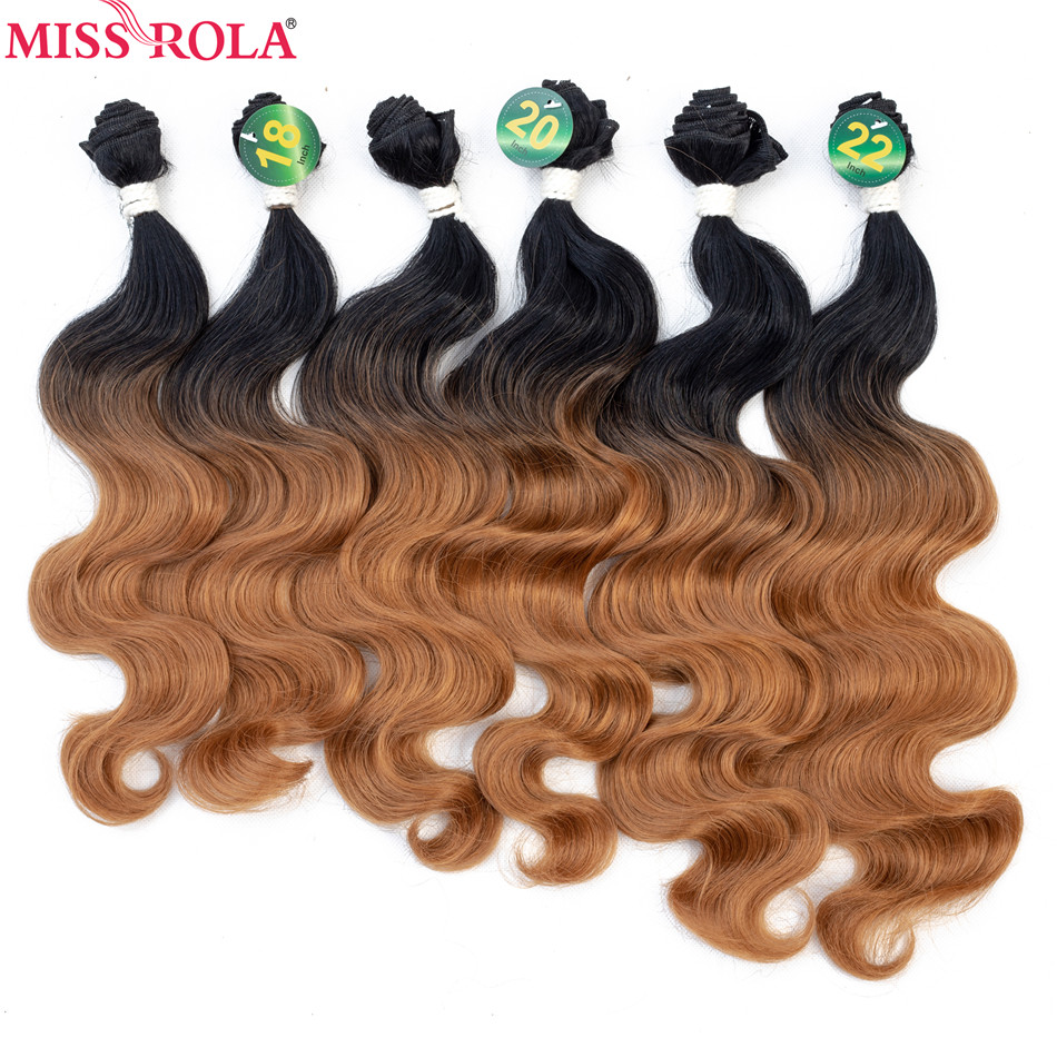 Miss Rola Ombre  Hair Bundles Synthetic Hair Extensions Body Wave Bundles T1B-27 6pcs 18-22'' Hair Weaves With Free Closure