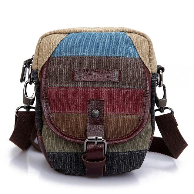 KVKY Two In One Canvas Bohemian Striped Walk Waist Pack Mini Small Women Bum Bag Hip Money Purse Belt Packs Messenger Bags