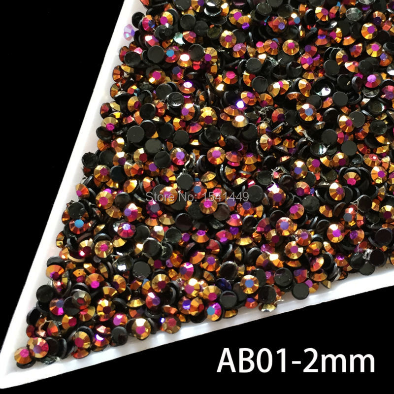 1000pcs/package DIY Nail art Jelly resin black laser gold rose Crystal ss6 Rhinestones AB 2mm Flatback Rhinestones crystal AB01