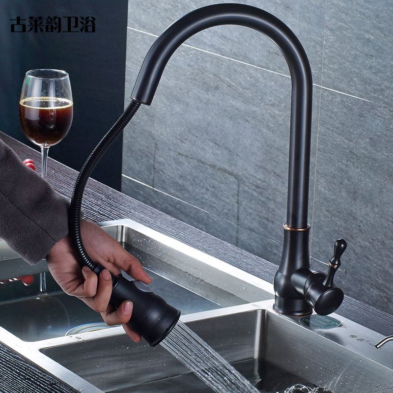 Black Crane Basin Faucet Pull Out Single Handle Hole Kitchen Faucets Brass Brushed Deck Mount Swivel Mixer Water Tap  ZT-04-950 new pull out swivel chrome brass kitchen faucet spout vessel basin sink single handle deck mounted mixer tap mf 446