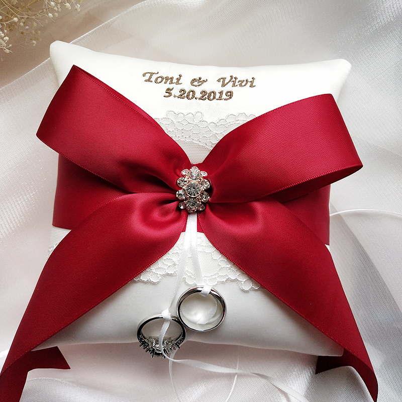 NEW Wedding Ring Pillow Red Ribbon bow Customized Name date Bridal Ring Pillows Party Decoration Valentine Day Festive Supplies