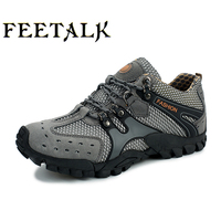 Anti Skid Sports Leisure Outdoor Shoes Leather Breathable Shoes Men Summer Hiking Shoes Shoes Low Mountain