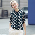 2017 New Korean Style Floral Printed Blouse Shirt Casual Loose Women Shirt Summer Ladies Elegant Blusas Femininas Vintage Shirts