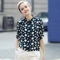 2017 Nova Coreano Estilo Floral Impresso Blusa Camisa Casual Solta Mulheres Camisa Senhoras Verão Elegante Blusas Femininas Camisas Do Vintage