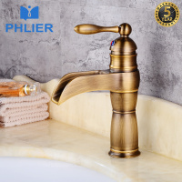 PHLIER High Quality Luxury Antique Bronze Copper Carving Bathroom Faucet Single Handle Sink Waterfall Faucet For