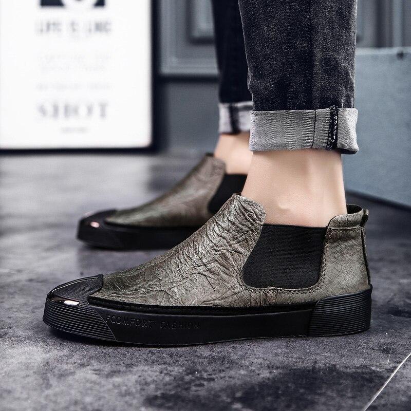 Marée récréative joker été planche chaussure en cuir est à la mode hommes chaussure semelle épaisse hauteur met le pied bas pour aider une chaussure 5