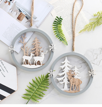 Nordic Decoration Home Wooden Wall Hanging Decoration Elk Forest Hanging Decoration For Kids Room
