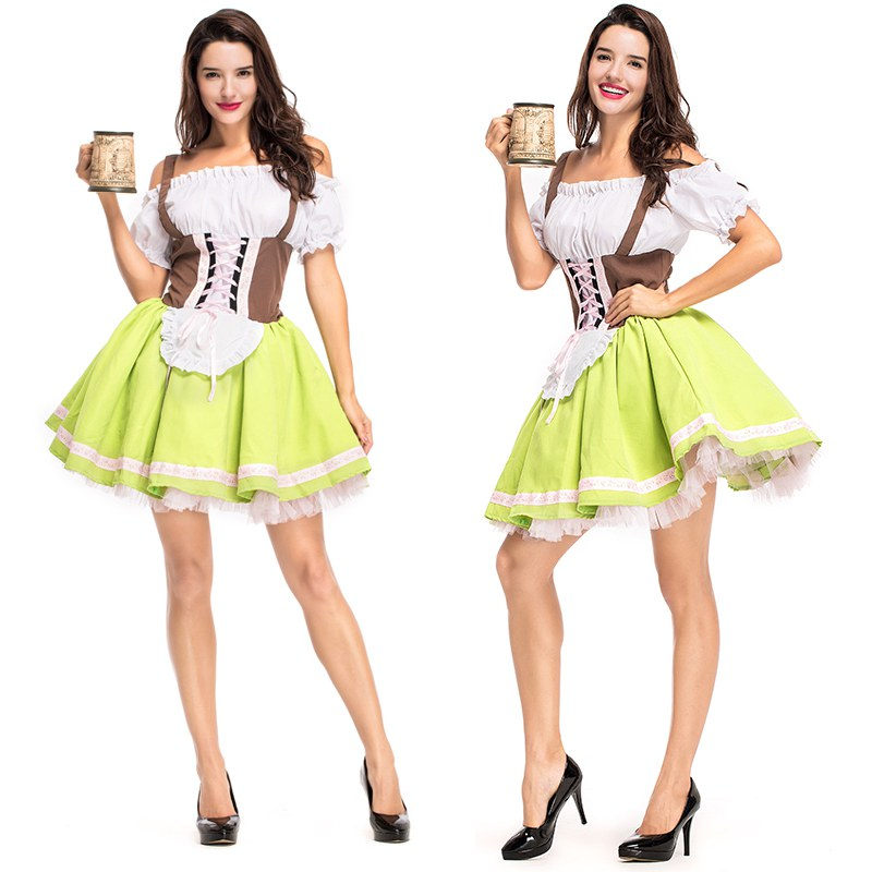 Women Beer Wench Costume Costume Gothic Lolita Dress German Bavarian Beer Girl Oktoberfest 2018 Carnival Purim day Apron