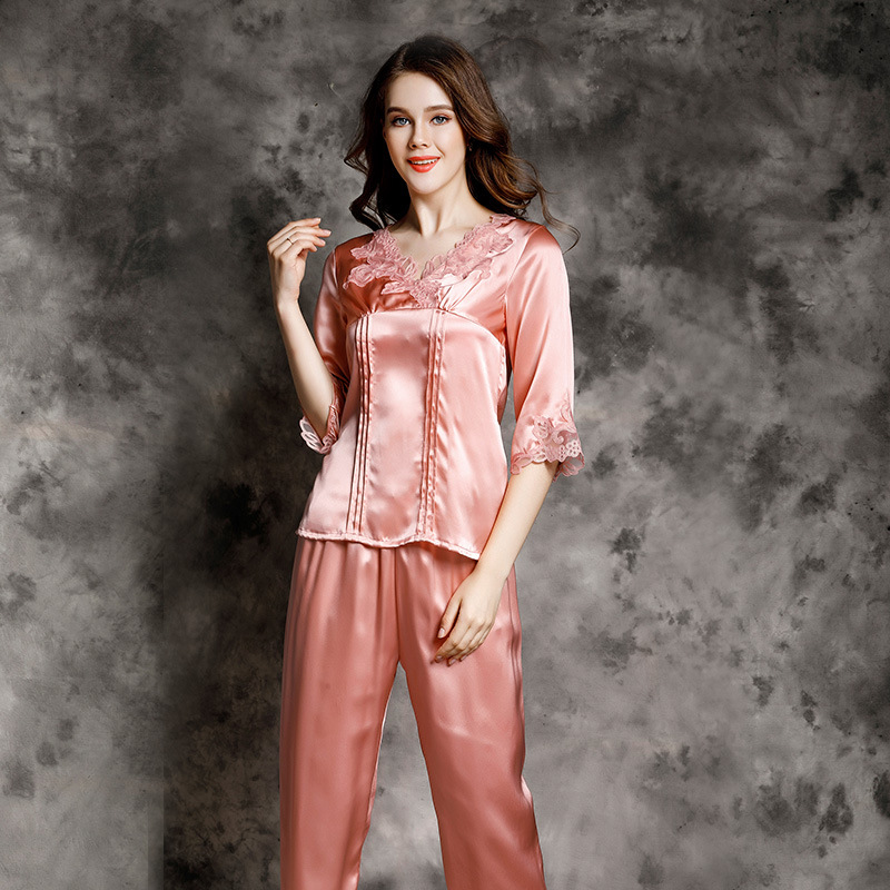 T77158 Silk Pajama sleeve Silk Female Summer Sexy Lace Leisurewear Two Suits 100% Silk Pajama Sets image