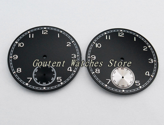 b9eb4099a6b 38.9mm Estéril Mostrador do Relógio Preto Ajuste ETA 6498 Gaivota st36  Movimento dos homens relógio